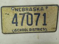 Nebraska School District License Plate 47071