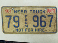 1995 Nebraska Not For Hire Farm Truck License Plate 79 967