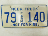 Nebraska Not For Hire Farm Truck License Plate 79 140