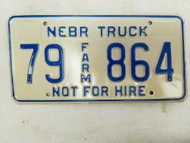 Nebraska Not For Hire Farm Truck License Plate 79 864