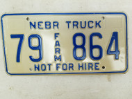 Nebraska Not For Hire Farm Truck License Plate 79 864 (2)