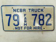 Nebraska Not For Hire Farm Truck License Plate 79 782