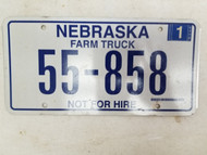 2006 Nebraska Not For Hire Farm Truck License Plate 55-858