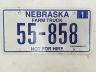2006 Nebraska Not For Hire Farm Truck License Plate 55-858 (2)