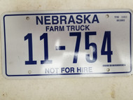 2006 Nebraska Not For Hire Farm Truck License Plate 11-754