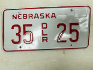 Nebraska Dealer License Plate 35 25