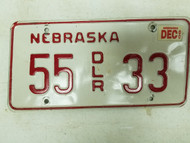 2000 Nebraska Dealer License Plate 35 33
