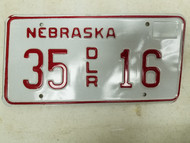 Nebraska Dealer License Plate 35 16