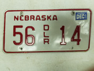 2001 Nebraska Dealer License Plate 56 14