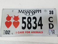 2012 Mississippi I Care For Animals Cat and Dog Heart License Plate 5834