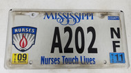 2011 Mississippi Nurses Touch Lives Flame License Plate A202 NF