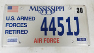 Expired Mississippi U.S. Armed Forces Retired Air Force American Flag License Plate 4451J
