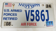 2011 Mississippi U.S. Armed Forces Retired Air Force American Flag License Plate V586J