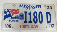 2012 Mississippi U.S. Armed Forces 100% DAV American Flag License Plate I180 D