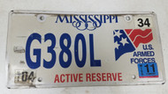 2011 Mississippi U.S. Armed Forces Active Reserve American Flag License Plate G380L