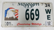 2012 Mississippi Conserving Wildlife Bald Eagle American Flag License Plate 669 WE