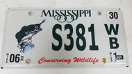 Expired Mississippi Conserving Wildlife Fish Bass License Plate S381 WB