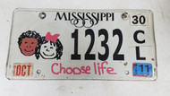 2011 Mississippi Choose Life Kids License Plate 1232 CL