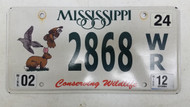 2012 Mississippi Conserving Wildlife Rabbit Birds License Plate 2868 WR