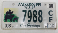 2012 Mississippi Our Heritage Cows Horse Cowboy License Plate 7988 CF