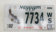 2012 Mississippi Conserving Wildlife Trout Fish License Plate 7734 WS