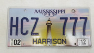 2012 Mississippi Harrison County Lighthouse Sunset License Plate HCZ 777