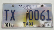 2012 Mississippi Lighthouse Sunset Taxi License Plate TX 0061