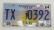 2012 Mississippi Lighthouse Sunset Taxi License Plate TX 0392