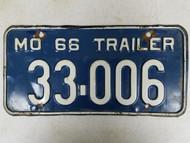 1966 Missouri Trailer License Plate 33-006