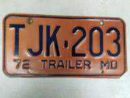 1972 Missouri Trailer License Plate TJK-203