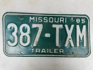 1985 Missouri Trailer License Plate 387-TXM