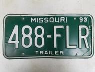 1993 Missouri Trailer License Plate 488-FLR
