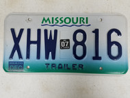 2007 Missouri Trailer License Plate XHW-816 Jackson County Area Code 816