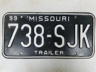1999 Missouri Trailer License Plate 738-SJK