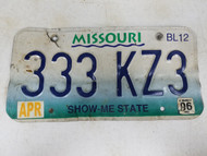 2006 Missouri Show-Me State License Plate 333-KZ3