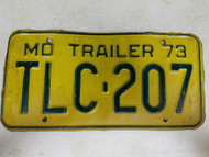 1973 Missouri Trailer License Plate TLC-207