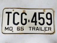 1965 Missouri Trailer License Plate TCG-459