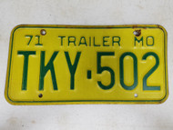 1971 Missouri Trailer License Plate TKY-502