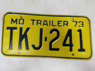1973 Missouri Trailer License Plate TKJ-241