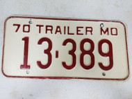 1970 Missouri Trailer License Plate 13-389