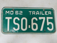 1962 Missouri Trailer License Plate TS0-675