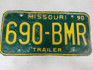 1990 Missouri Trailer License Plate 690-BMR