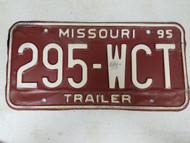 1995 Missouri Trailer License Plate 295-WCT