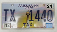2011 Mississippi Taxi License Plate TX-1440 Lighthouse Sunset