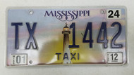 2012 Mississippi Taxi License Plate TX-1442 Lighthouse Sunset