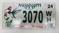 2012 Mississippi Conserving Wildlife License Plate 3070-WH Humming Bird Flower