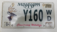 2012 Mississippi Conserving Wildlife License Plate Y160-WD Deer Buck
