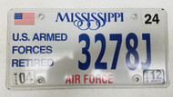 2012 Mississippi U.S. Armed Forces Retired Air Force License Plate 3278J American Flag