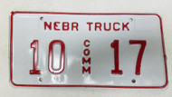 Expired Nebraska Commercial Truck License Plate 10-17