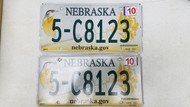 2010 Tag Nebraska nebraska.gov Dodge County License Plate 5-C8123 Bird Flower PAIR